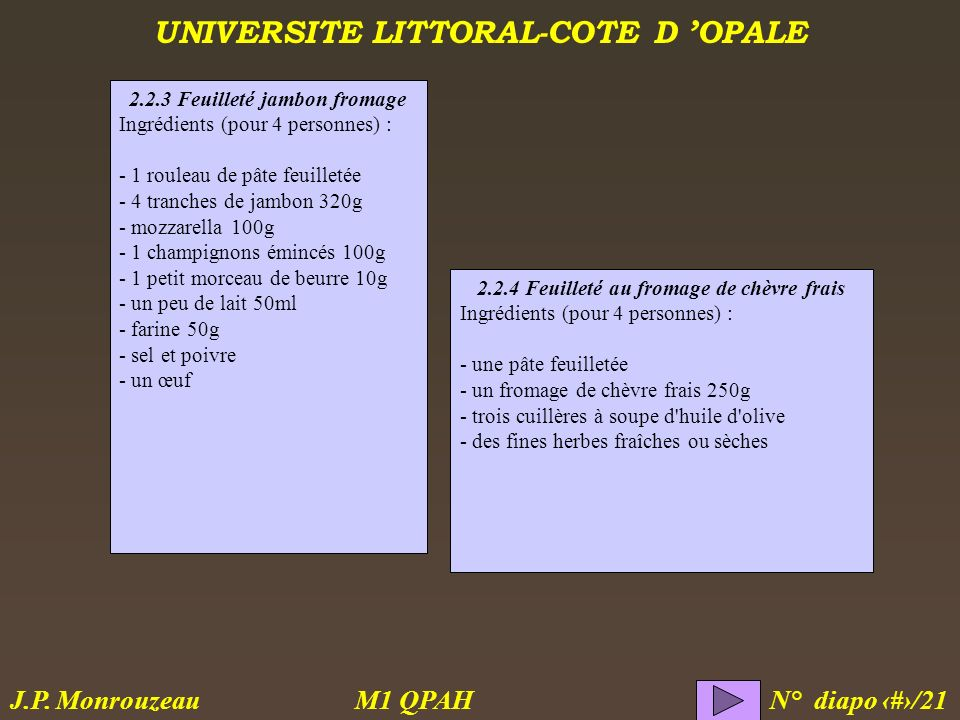 UNIVERSITE LITTORAL-COTE D OPALE M1 QPAH N° diapo 8/21 J.P. Monrouzeau 2.2.3 Feuilleté jambon fromage Ingrédients (pour 4 personnes) : - 1 rouleau de