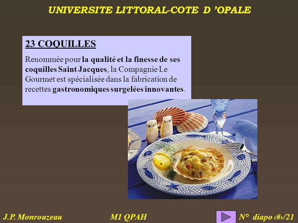 UNIVERSITE LITTORAL-COTE D OPALE M1 QPAH N° diapo 9/21 J.P. Monrouzeau 23 COQUILLES Renommée pour la qualité et la finesse de ses coquilles Saint Jacq