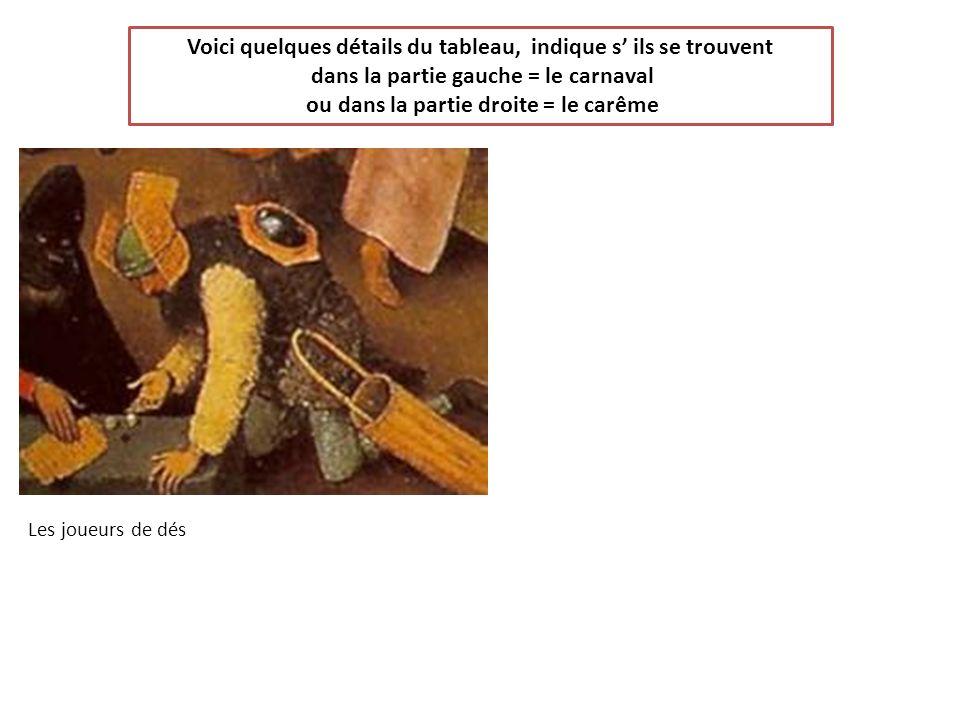 Voici quelques détails du tableau, indique s ils se trouvent dans la partie gauche = le carnaval ou dans la partie droite = le carême Les joueurs de d