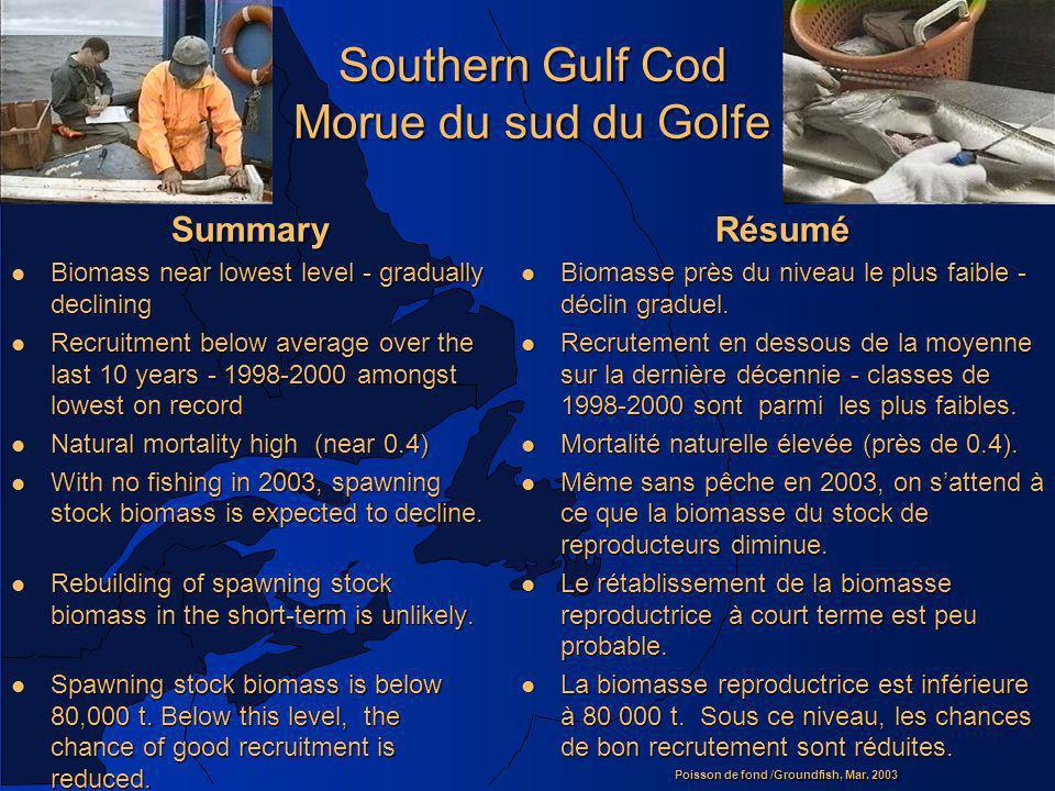 Poisson de fond /Groundfish, Mar. 2003 Southern Gulf Cod Morue du sud du Golfe Summary l Biomass near lowest level - gradually declining l Recruitment