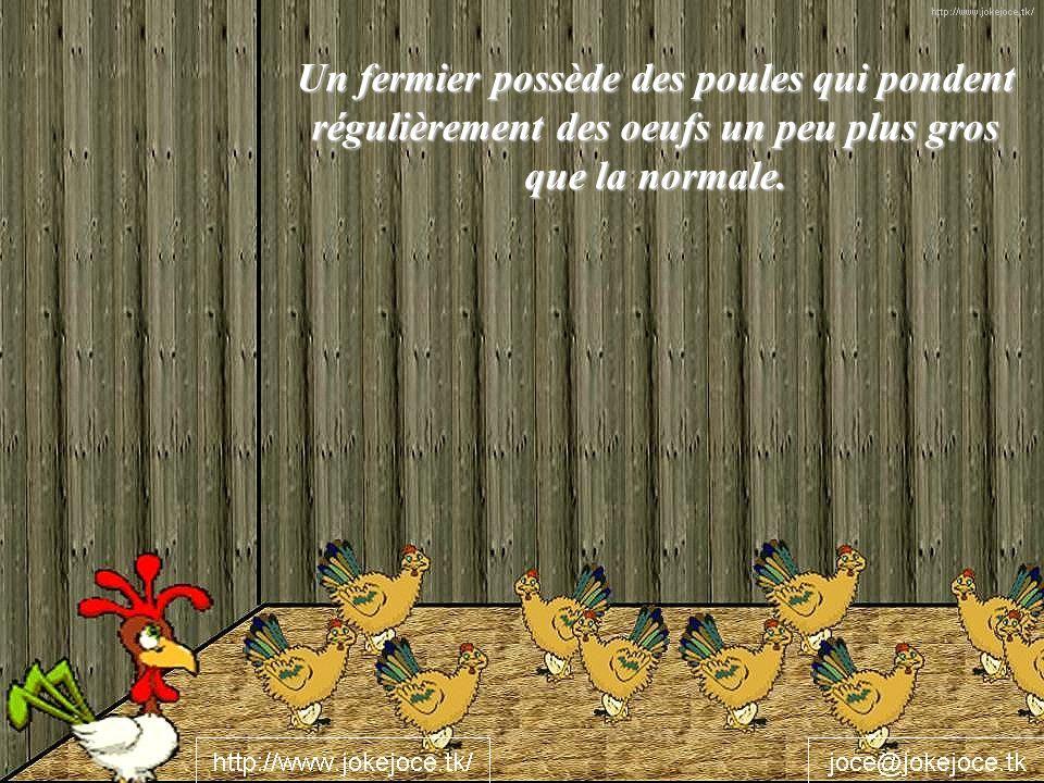 Un fermier possède des poules qui pondent régulièrement des oeufs un peu plus gros que la normale.