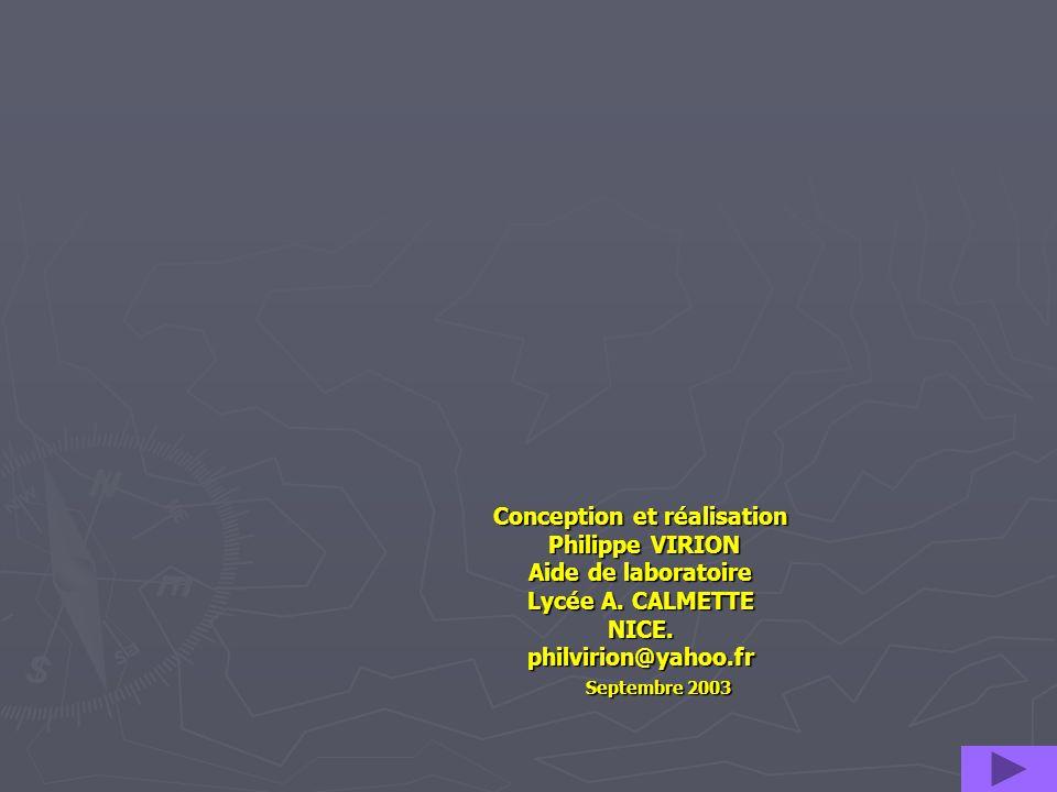 Conception et réalisation Philippe VIRION Aide de laboratoire Lycée A. CALMETTE NICE. philvirion@yahoo.fr Septembre 2003