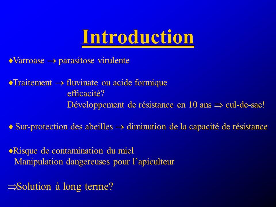 Introduction Varroase parasitose virulente Traitement fluvinate ou acide formique efficacité.