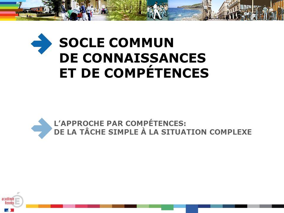 LAPPROCHE PAR COMPÉTENCES: DE LA TÂCHE SIMPLE À LA SITUATION COMPLEXE SOCLE COMMUN DE CONNAISSANCES ET DE COMPÉTENCES