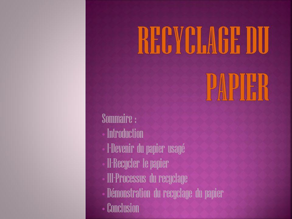 Sommaire : Introduction I-Devenir du papier usagé II-Recycler le papier III-Processus du recyclage Démonstration du recyclage du papier Conclusion