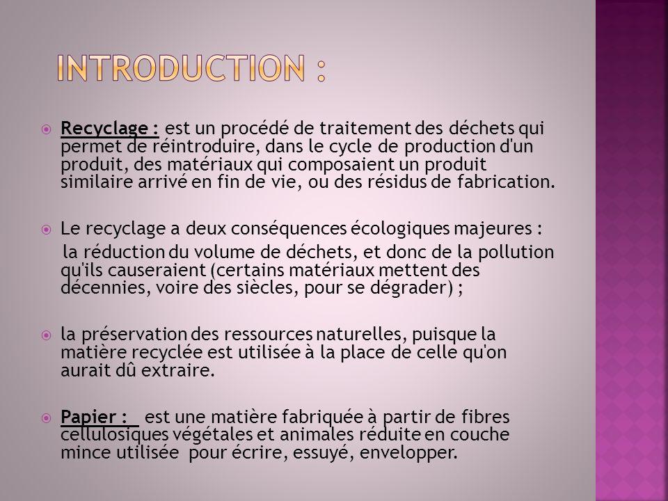 Recyclage : est un procédé de traitement des déchets qui permet de réintroduire, dans le cycle de production d'un produit, des matériaux qui composaie