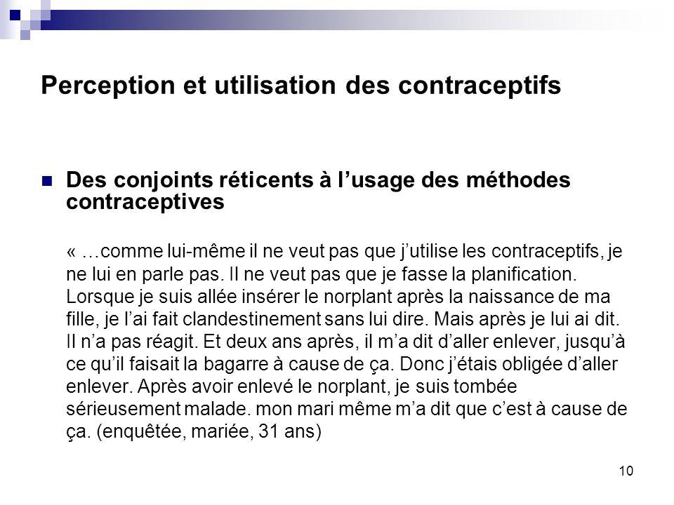 Perception et utilisation des contraceptifs Des conjoints réticents à lusage des méthodes contraceptives « …comme lui-même il ne veut pas que jutilise les contraceptifs, je ne lui en parle pas.