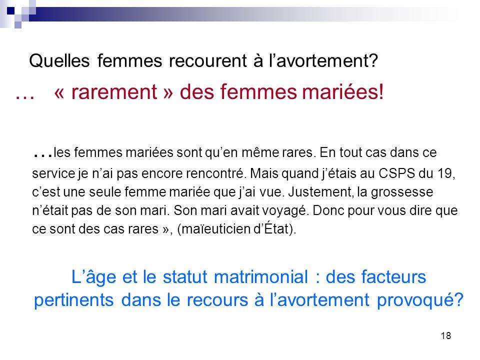Quelles femmes recourent à lavortement.… « rarement » des femmes mariées.