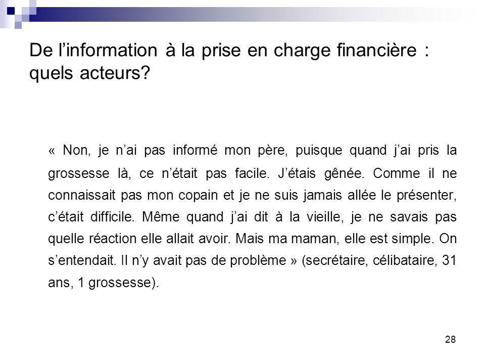 De linformation à la prise en charge financière : quels acteurs.