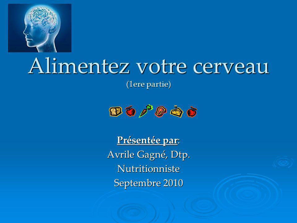 Alimentez votre cerveau (1ere partie) Présentée par: Avrile Gagné, Dtp. Nutritionniste Septembre 2010