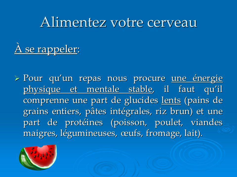 Alimentez votre cerveau À se rappeler: Pour quun repas nous procure une énergie physique et mentale stable, il faut quil comprenne une part de glucide