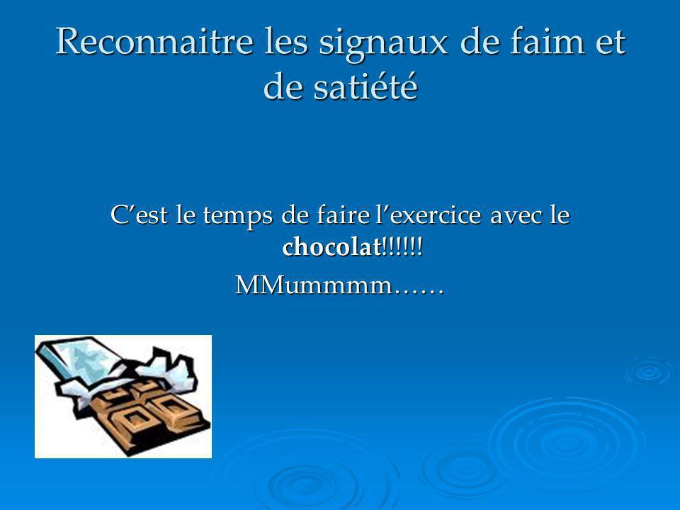 Reconnaitre les signaux de faim et de satiété Cest le temps de faire lexercice avec le chocolat!!!!!! MMummmm……