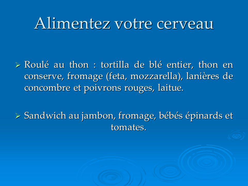 Alimentez votre cerveau Roulé au thon : tortilla de blé entier, thon en conserve, fromage (feta, mozzarella), lanières de concombre et poivrons rouges