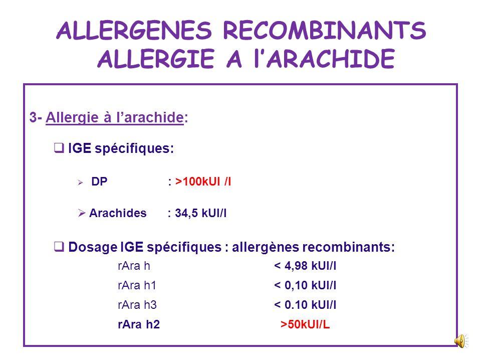 ALLERGENES RECOMBINANTS ALLERGIE A lARACHIDE 2- Allergie à larachide: Enfant, 4 ans Dermatite atopique,+ rhinoconjonctivite Atopie +++ 2 épisodes doed