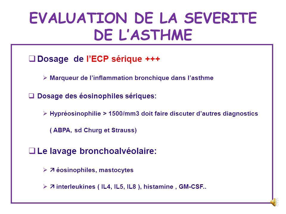 EVALUATION DE LA DESENSIBILISATION Intérêt de dosage des IGE spécifiques de lallergène en cause et des IG4 +++ Autres examens: test de dégranulation d
