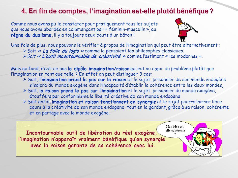 4. En fin de comptes, limagination est-elle plutôt bénéfique ? Comme nous avons pu le constater pour pratiquement tous les sujets que nous avons abord