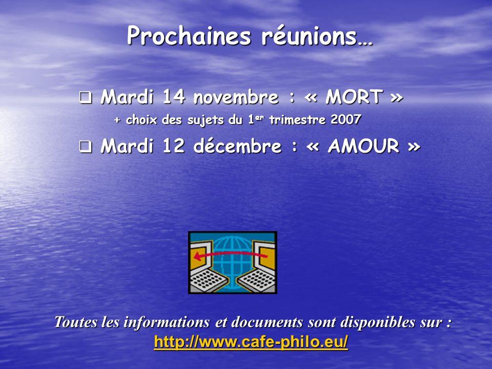 Mardi 14 novembre : « MORT » Mardi 14 novembre : « MORT » + choix des sujets du 1 er trimestre 2007 + choix des sujets du 1 er trimestre 2007 Mardi 12