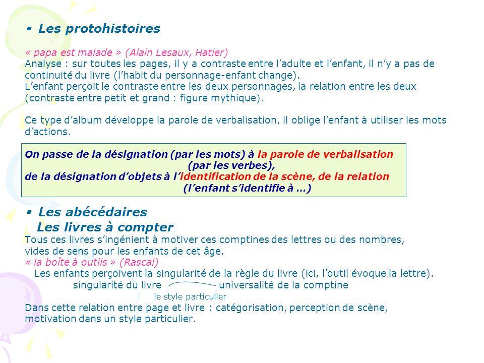 Les protohistoires « papa est malade » (Alain Lesaux, Hatier) Analyse : sur toutes les pages, il y a contraste entre ladulte et lenfant, il ny a pas d