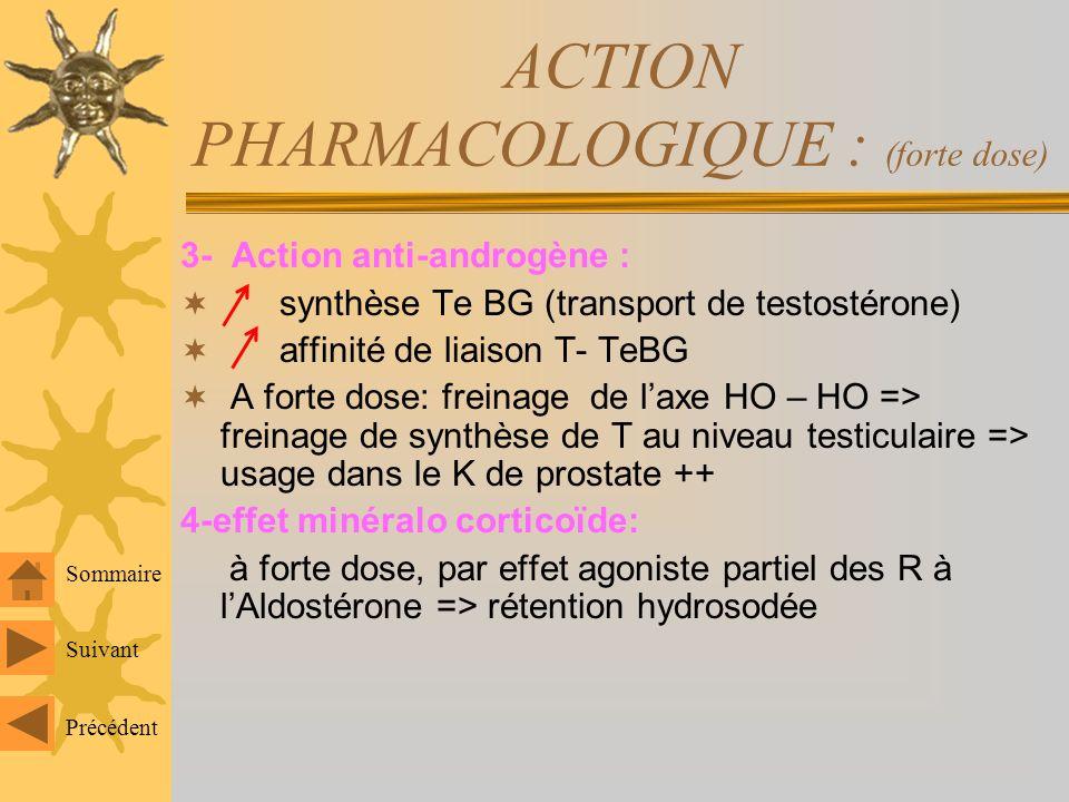 ACTION PHARMACOLOGIQUE : (forte dose) Inhibition totale de LH et FSH dans les 2 sexes 1- Hémostase : effet thrombogène à forte dose ou si utilisation prolongée Action à 2 niveaux de lhémostase : -Plaquettes: agrégabilité plq - plasma: * synthèse de certains facteurs de coagulation(VII, VIII ) * synthèse de AT III (anti-coag) 2-Effet sur cartilage de conjugaison : chez lenfant impubère => soudure (blocage de la croissance)=> CI formelle+++ Suivant Précédent Sommaire