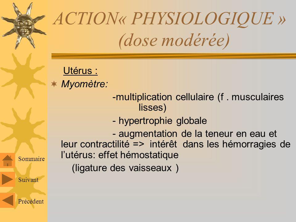 ACTION« PHYSIOLOGIQUE » (dose modérée) Utérus : Myomètre: -multiplication cellulaire (f.