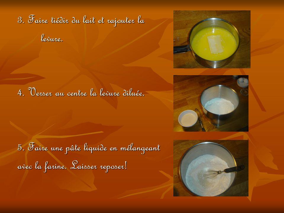 3.Faire tiédir du lait et rajouter la levure. levure.