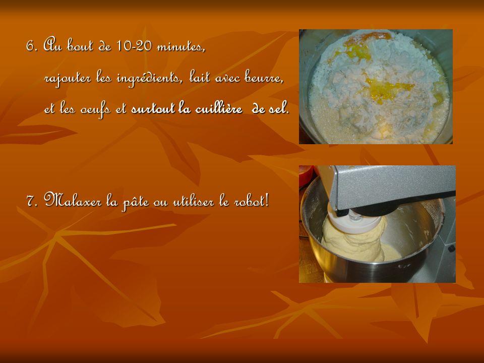 6. Au bout de 10-20 minutes, rajouter les ingrédients, lait avec beurre, rajouter les ingrédients, lait avec beurre, et les oeufs et surtout la cuilli