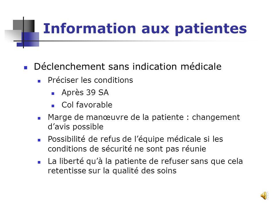 Information aux patientes Grossesse prolongée Présenter les risques du dépassement de terme En labsence danomalie pas de déclenchement impératif tant