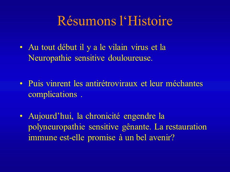 Résumons lHistoire Au tout début il y a le vilain virus et la Neuropathie sensitive douloureuse. Puis vinrent les antirétroviraux et leur méchantes co
