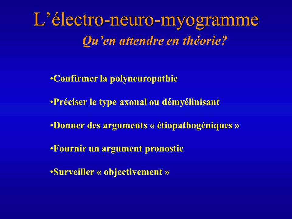 Lélectro-neuro-myogramme Quen attendre en théorie? Confirmer la polyneuropathie Préciser le type axonal ou démyélinisant Donner des arguments « étiopa