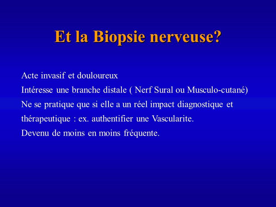 Et la Biopsie nerveuse? Acte invasif et douloureux Intéresse une branche distale ( Nerf Sural ou Musculo-cutané) Ne se pratique que si elle a un réel