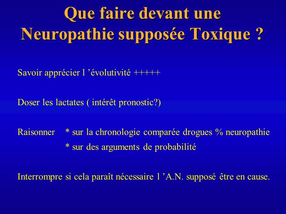 Que faire devant une Neuropathie supposée Toxique ? Savoir apprécier l évolutivité +++++ Doser les lactates ( intérêt pronostic?) Raisonner * sur la c