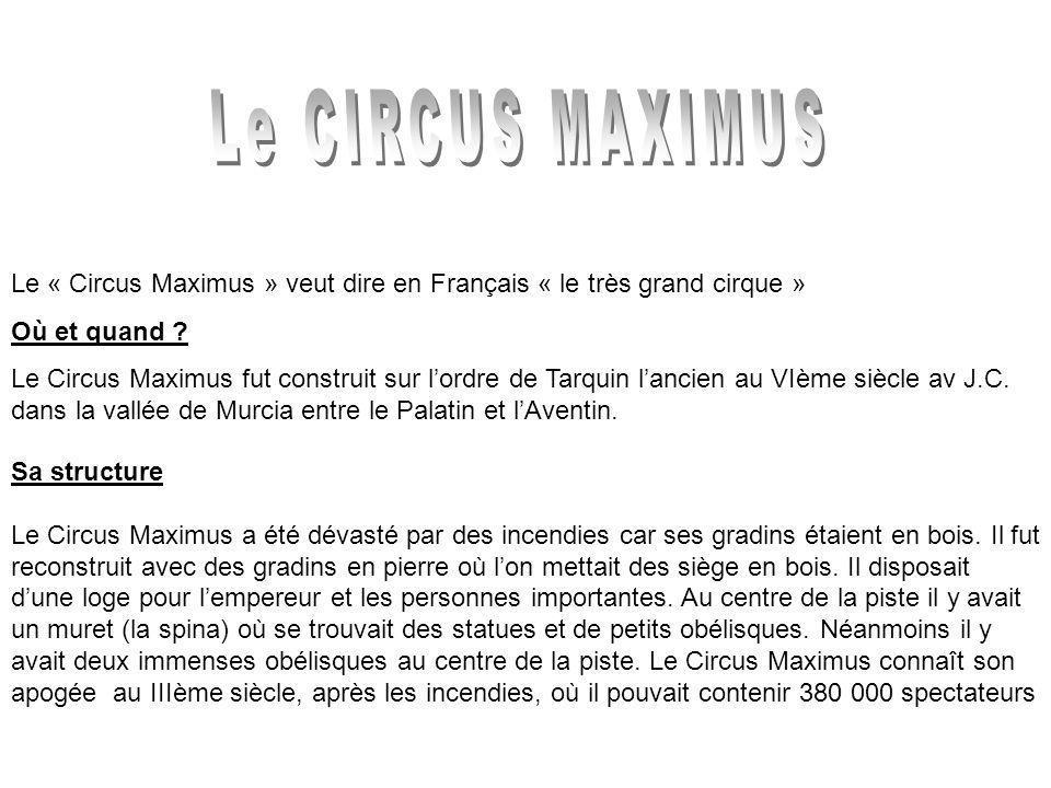 Le « Circus Maximus » veut dire en Français « le très grand cirque » Où et quand .