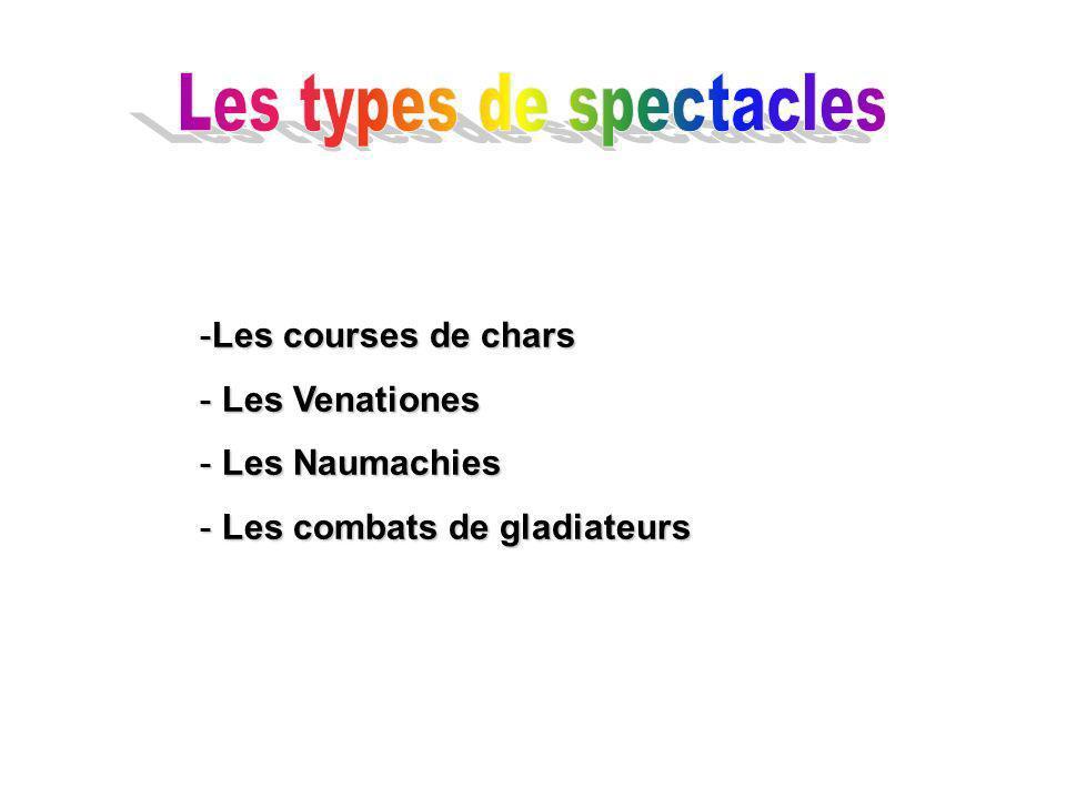 -Les courses de chars - Les Venationes - Les Naumachies - Les combats de gladiateurs