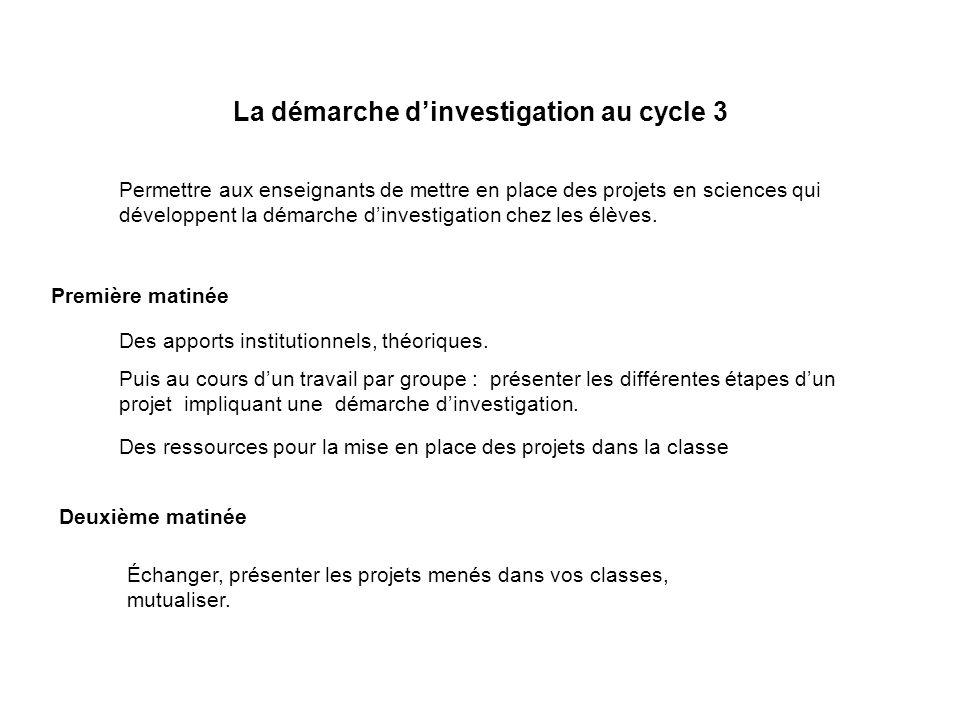 La démarche dinvestigation au cycle 3 Permettre aux enseignants de mettre en place des projets en sciences qui développent la démarche dinvestigation