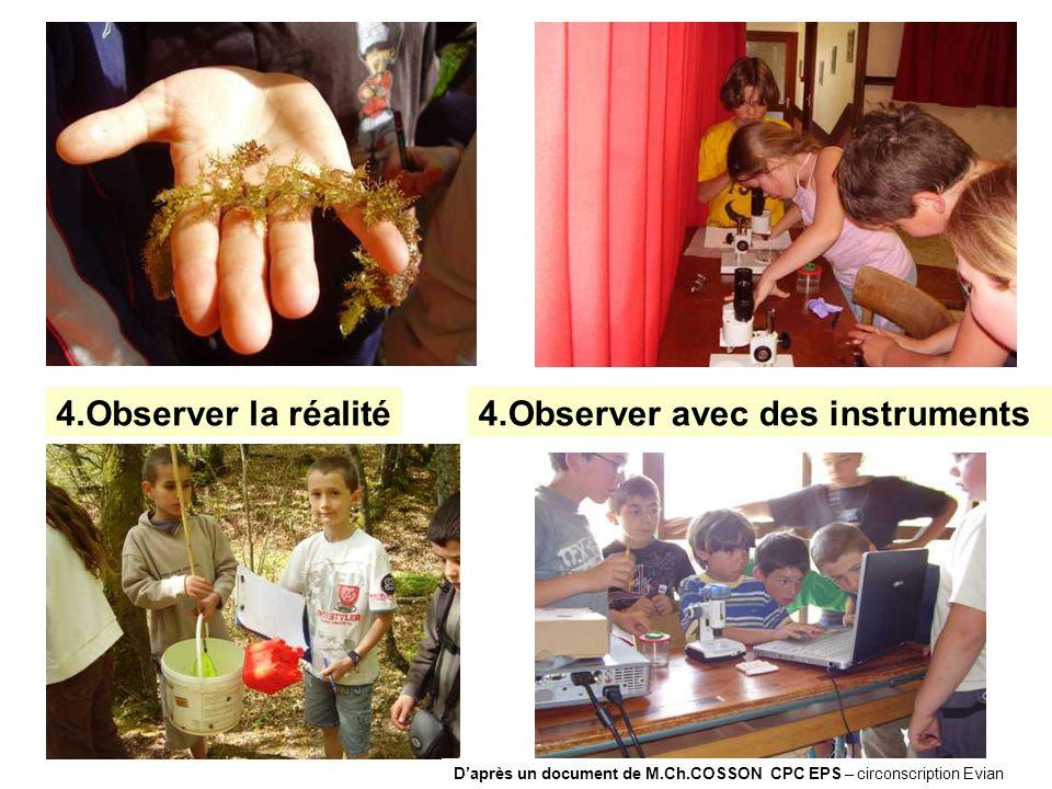 4.Observer la réalité4.Observer avec des instruments Daprès un document de M.Ch.COSSON CPC EPS – circonscription Evian