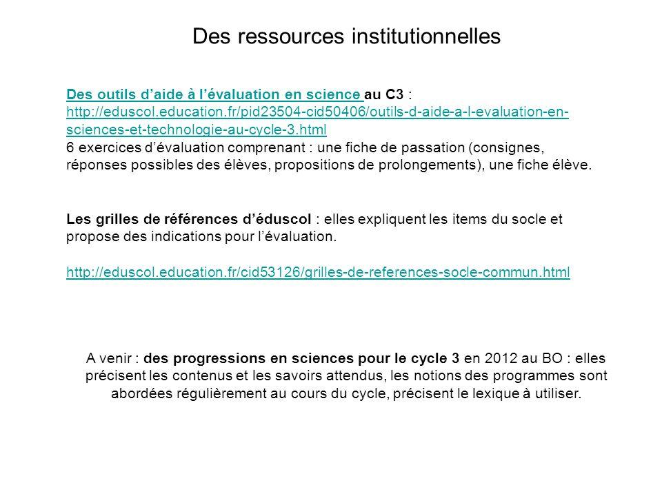 A venir : des progressions en sciences pour le cycle 3 en 2012 au BO : elles précisent les contenus et les savoirs attendus, les notions des programme