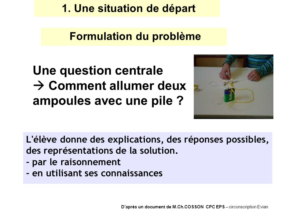 L'élève donne des explications, des réponses possibles, des représentations de la solution. - par le raisonnement - en utilisant ses connaissances Une