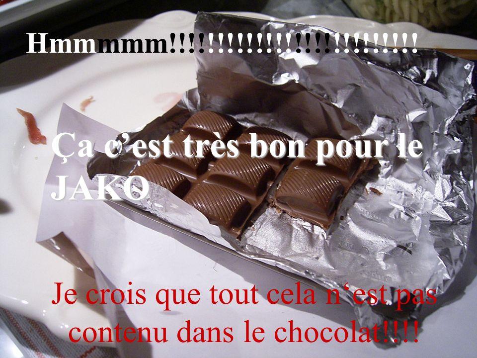 Hmmmmm!!!!!!!!!!!!!!!!!!!!!!!!!! Je crois que tout cela nest pas contenu dans le chocolat!!!! Ça cest très bon pour le JAKO
