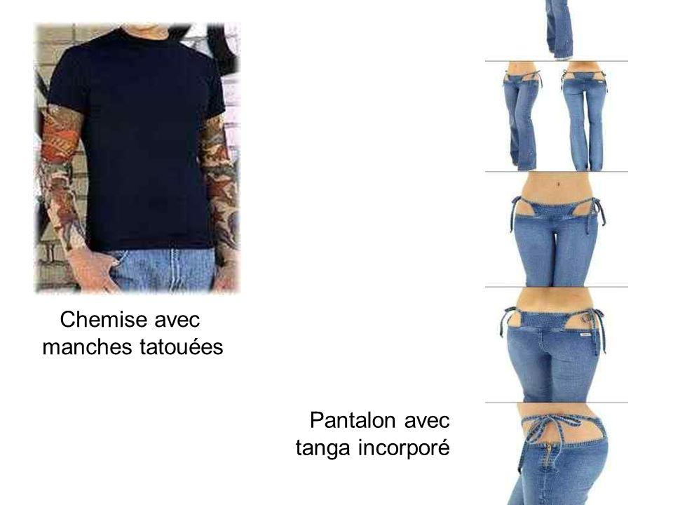 Chemise avec manches tatouées Pantalon avec tanga incorporé
