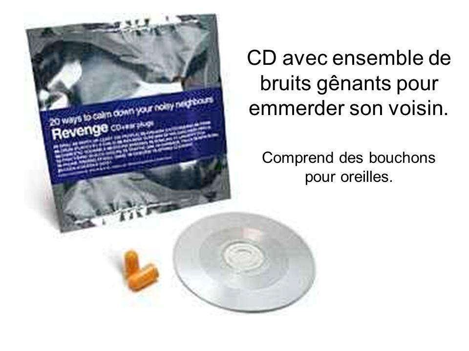CD avec ensemble de bruits gênants pour emmerder son voisin. Comprend des bouchons pour oreilles.
