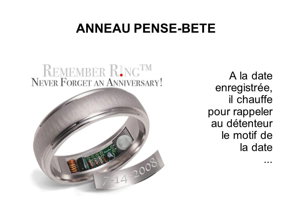 ANNEAU PENSE-BETE A la date enregistrée, il chauffe pour rappeler au détenteur le motif de la date...