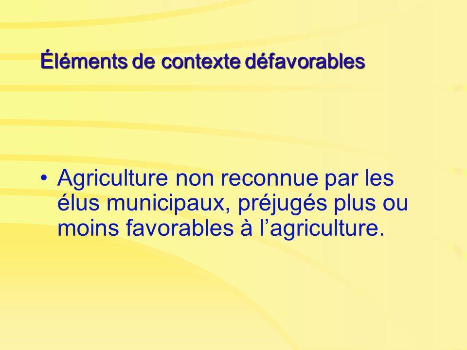 Éléments de contexte défavorables Agriculture non reconnue par les élus municipaux, préjugés plus ou moins favorables à lagriculture.