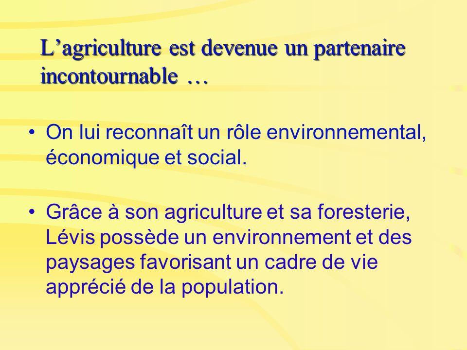 Lagriculture est devenue un partenaire incontournable … On lui reconnaît un rôle environnemental, économique et social. Grâce à son agriculture et sa