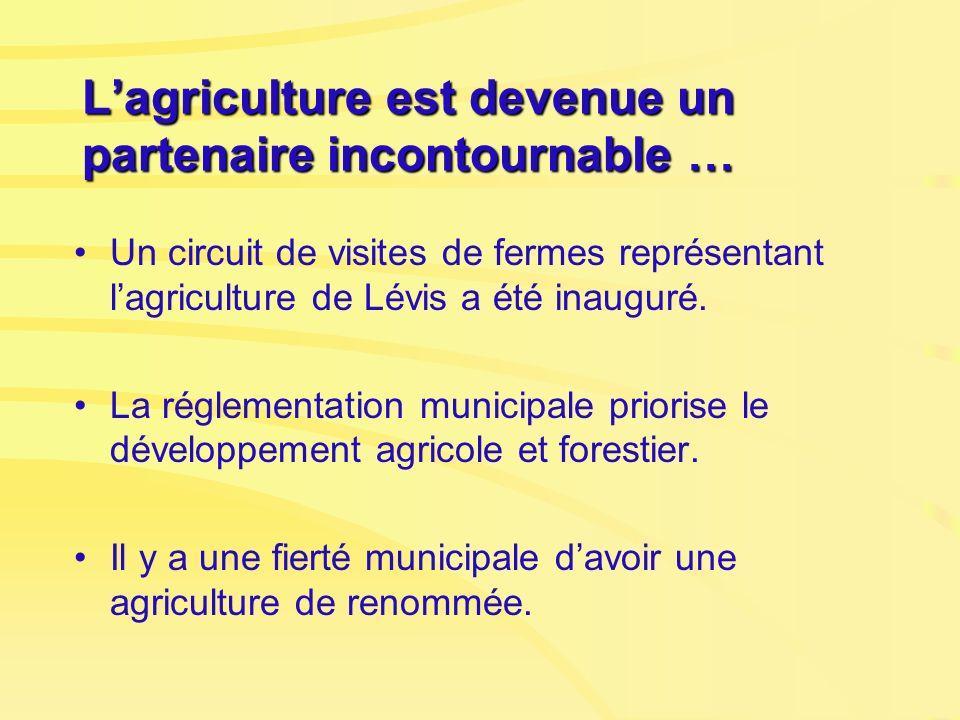 Lagriculture est devenue un partenaire incontournable … Un circuit de visites de fermes représentant lagriculture de Lévis a été inauguré. La réglemen