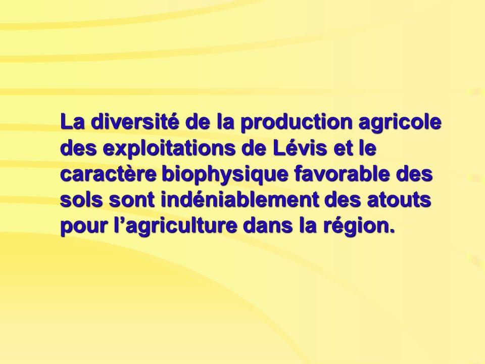 La diversité de la production agricole des exploitations de Lévis et le caractère biophysique favorable des sols sont indéniablement des atouts pour l