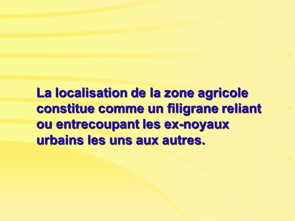 La localisation de la zone agricole constitue comme un filigrane reliant ou entrecoupant les ex-noyaux urbains les uns aux autres.