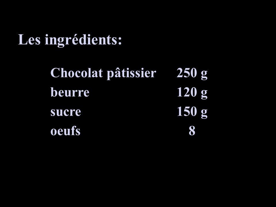 Faire fondre au bain-marie: - 250 g de chocolat - 120 g de beurre Dans une jatte mélanger: - Les jaunes - 150 g de sucre Séparer les blancs des jaunes de 8 œufs.