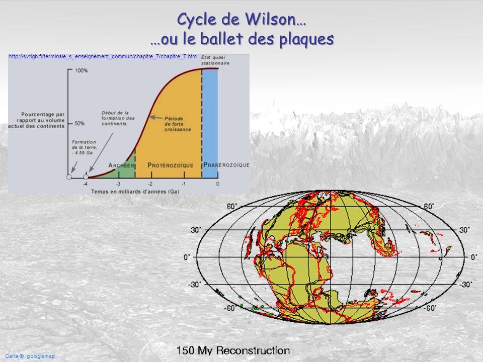 Carte © googlemap Cycle de Wilson… …ou le ballet des plaques http://svtlgb.fr/terminale_s_enseignement_commun/chapitre_7/chapitre_7.html