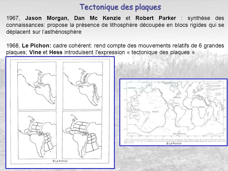 1967, Jason Morgan, Dan Mc Kenzie et Robert Parker : synthèse des connaissances: propose la présence de lithosphère découpée en blocs rigides qui se d