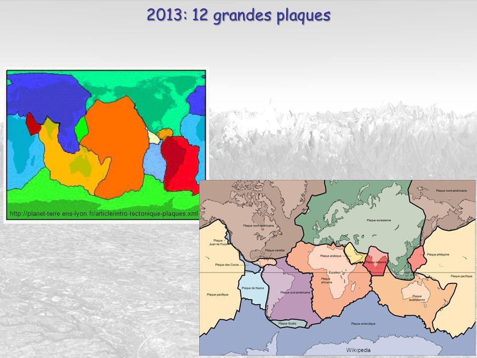 2013: 12 grandes plaques http://planet-terre.ens-lyon.fr/article/intro-tectonique-plaques.xml Wikipedia